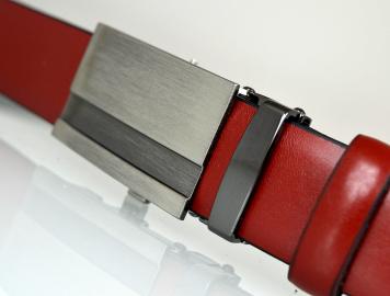 3ab789bbf72b04 Pasek męski skórzany garnituru, automatyczna klamra 04-30 czerwony