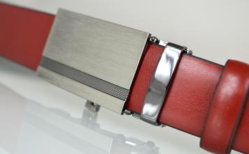 01d037e76a9708 Pasek męski skórzany garnituru, automatyczna klamra 02-30 czerwony