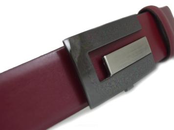 04c8e31133bf5f Pasek męski skórzany, do jeansow lub garnituru, automatyczna klamra 07-35  Bordowy