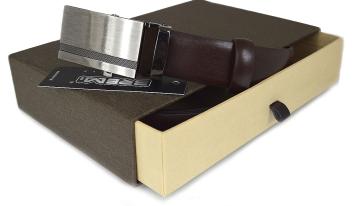 f393f05f718d33 Pasek męski skórzany do garnituru, automatyczna klamra + pudełko 06-30  brązowy